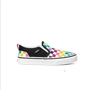 Slip on colored checkered Vans